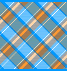 Orange blue gray check plaid seamless pattern vector