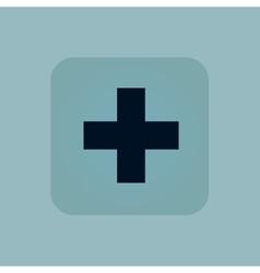 Pale blue plus icon vector image