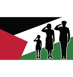 Palestine soldier family salute vector