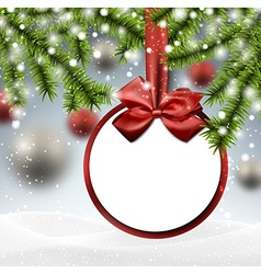 Paper bauble on spruce branches vector image