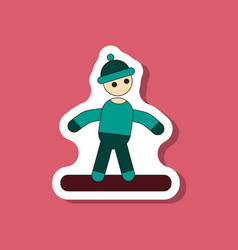 Paper sticker on stylish background snowboarder vector