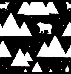 Polar white bears and foxes with triangle vector