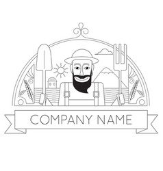 portrait of bearded happy farmer in hat vector image