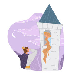 prince and princess with long hair in tall tower vector image