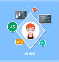 Programmer woman character vector