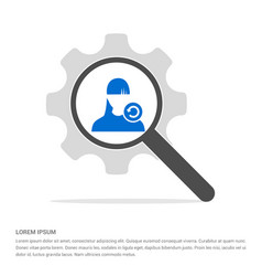 Reload user icon search glass with gear symbol vector