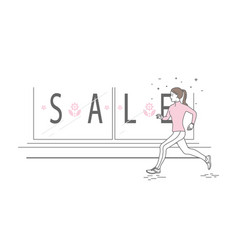 running woman in line art style vector image