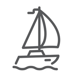 sail yacht line icon travel and tourism vector image