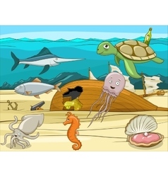 Sea life cartoon educational vector