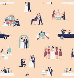 seamless pattern with bride and groom preparing vector image