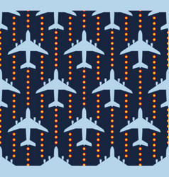 Seamless pattern with passenger airplanes over vector