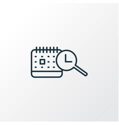 Search time schedule icon line symbol premium vector