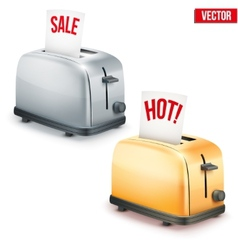 Set of Bright retro toasters with message SALE and vector image