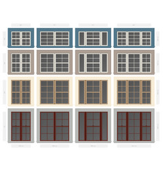 Single hung four section composite window set in vector