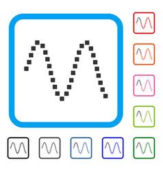Sinusoid framed icon vector