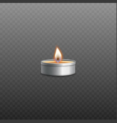 small tea candle or tealight fire flame realistic vector image