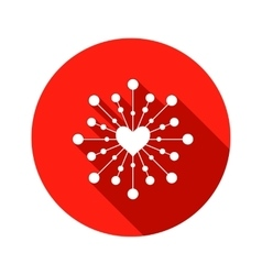 Snowflake heart view icon Christmas Valentine vector image