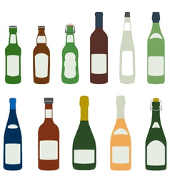 solid colors alcohol bottles icons set vector image