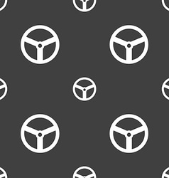 Steering wheel icon sign Seamless pattern on a vector image