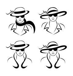 stylish woman logo vector image