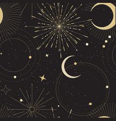 Sun and moon tarot sign seamless pattern design vector