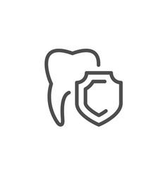 teeth protection line icon vector image vector image