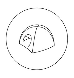 tent icon in outline style isolated on white vector image