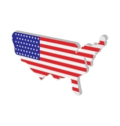 USA map with american flag texture cartoon icon vector image