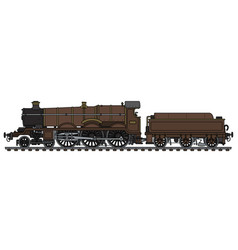 Vintage brown steam locomotive vector