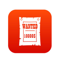 vintage wanted poster icon digital red vector image