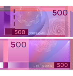 Voucher template banknote 500 with guilloche vector