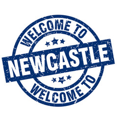 Welcome to newcastle blue stamp vector