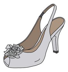White romantic shoe on high heel vector