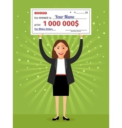 Woman with check for one million dollars in hands vector