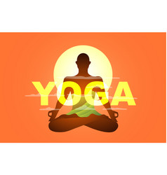 Yoga poster banner or billboard design with monk vector