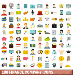 100 finance company icons set flat style vector image vector image