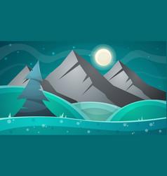 cartoon night landscape comet moon mountains vector image