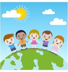 children holding hand vector image