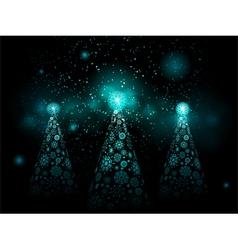 Christmas snowflake trees vector image