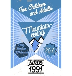 Color vintage mountaineering poster vector image vector image