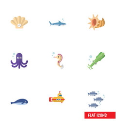 Flat icon marine set of tuna hippocampus conch vector