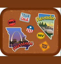 missouri nevada travel stickers and retro text vector image