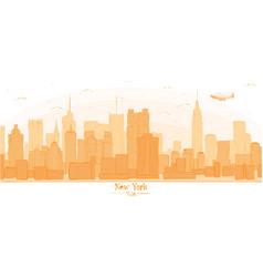 new york city banner panorama buildings landmarks vector image