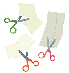Scissors and paper coupons set - hand drawn vector image