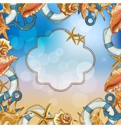 Summer Card with Sea Shells Anchor Lifeline vector image vector image