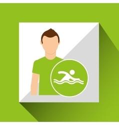 athlete man swimmer sport graphic vector image