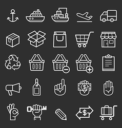 Business transportation element line icons vector image