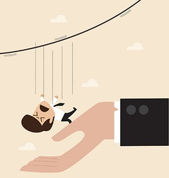 Businessman falling from rope to the big hand vector image vector image