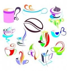 coffee tea elements vector image vector image