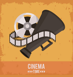 colorful poster of cinema time with film reel and vector image